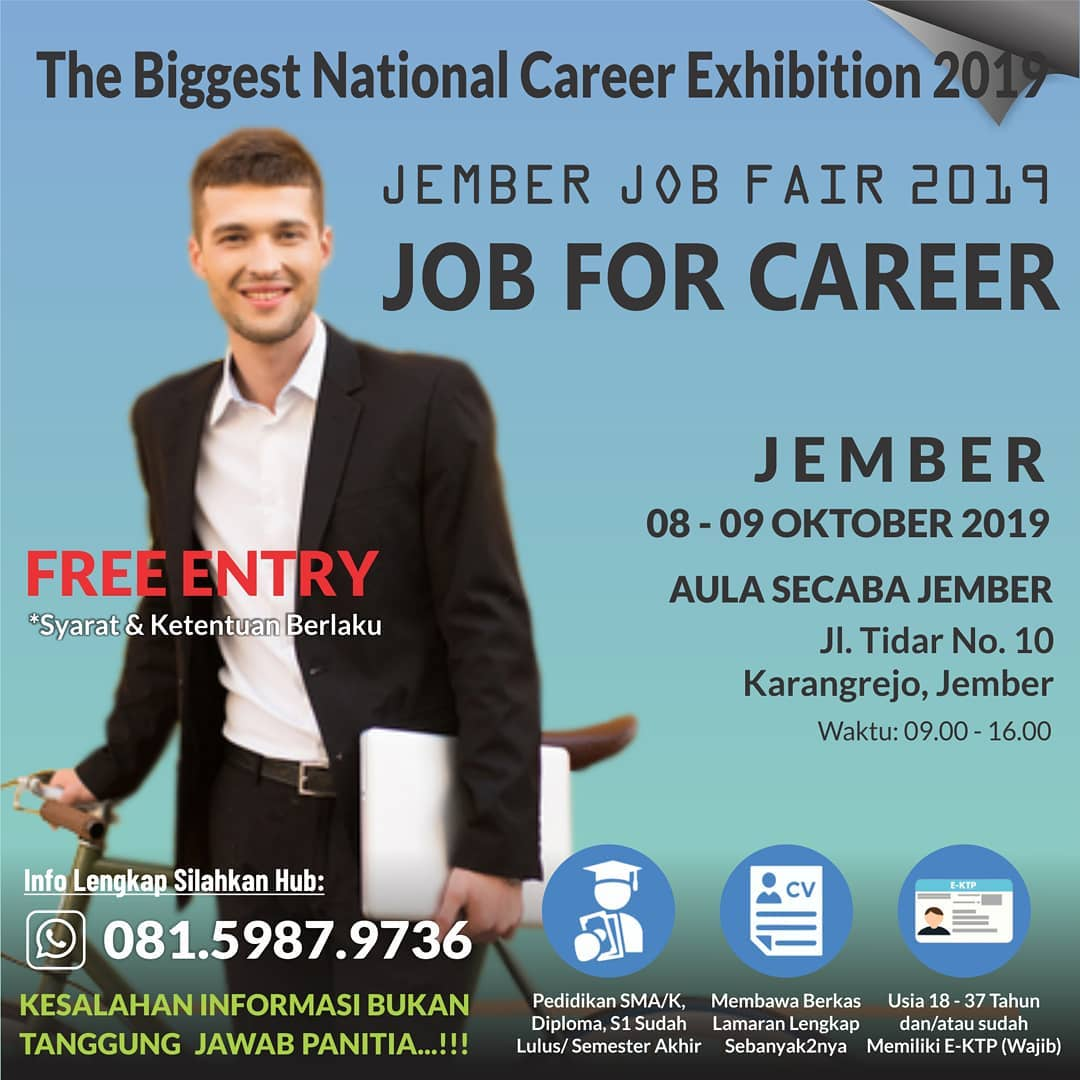 "Jember Job Fair ""JOB FOR CAREER"" Oktober 2019"